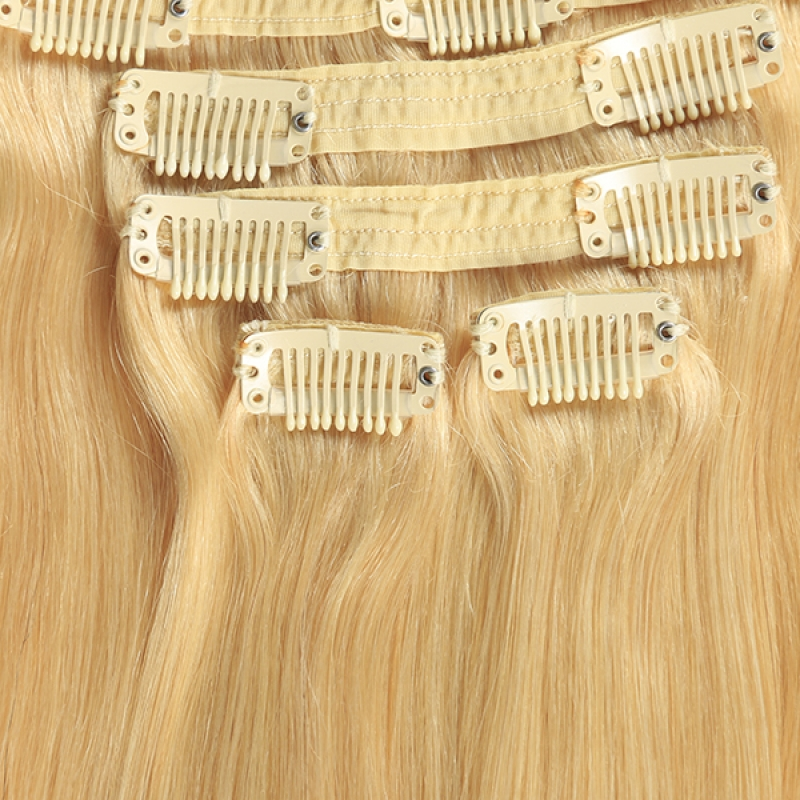 Wholesale virgin brazilian clip in hair extension 100% unprocessed virgin hair