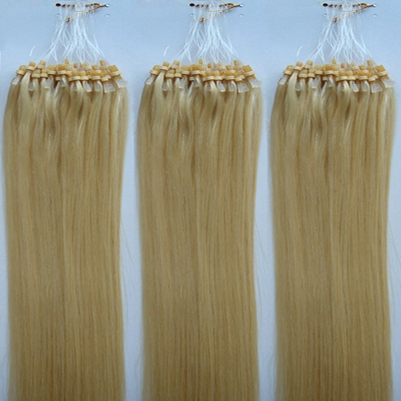 New 24inch Remy Loop Hair Extension #24 100s 70g Golden Blonde Micro Ring Hair